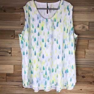 Melissa McCarthy sleeveless water color top sz 4X
